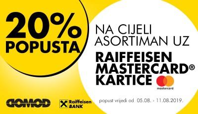 20% popusta uz Raiffeisen Mastercard kartice